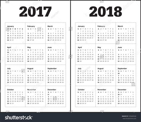 simple calendar template year 2017 year stock vector