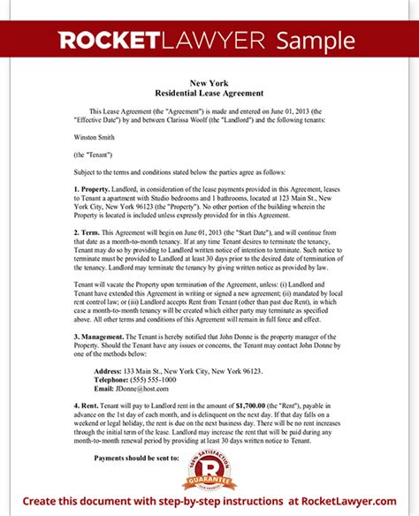 New York Residential Lease Agreement Free Rental Lease Agreement Form Ny Residential Lease Agreement Template