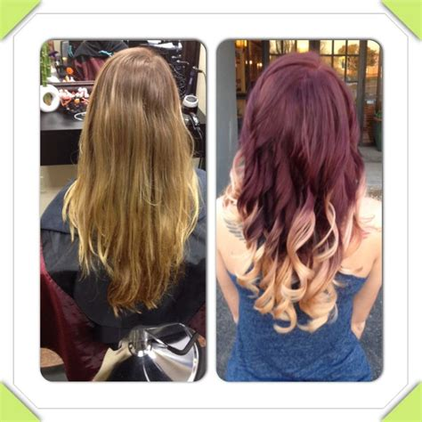 the rusk technique blonde to red violet with dipped blonde tips used rusk 1