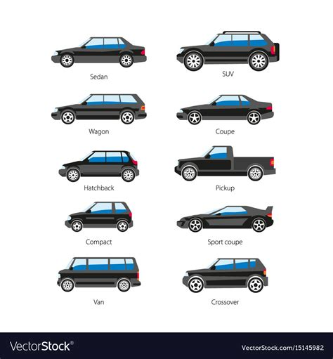 Car Types by Car Or Automobile Type Names Flat Royalty Free Vector
