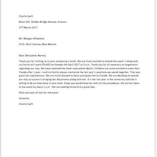 Acceptance Letter For Event Formal Official And Professional Letter Templates Part 2