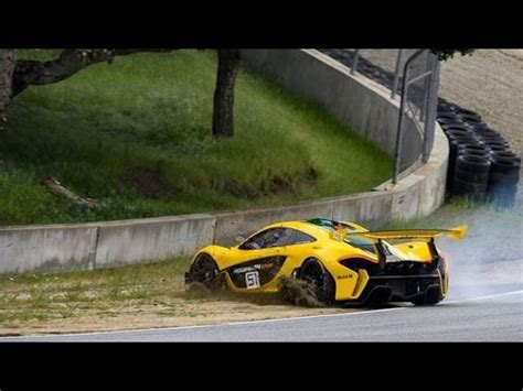 mclaren p1 crash test mclaren driven p1 gtr spins out on corkscrew barely