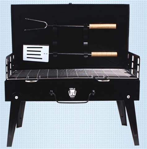 Meja Lipat Portable alat panggang arang bbq grill stove foldable black jakartanotebook