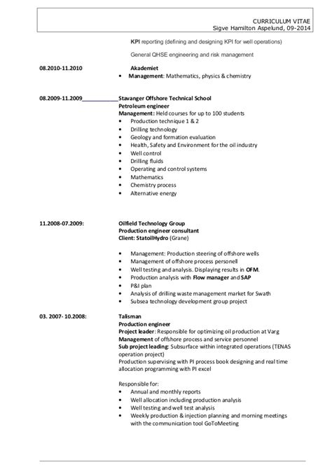 curriculum vitae sles of production engineer cv sigve hamilton aspelund 092014 production engineer