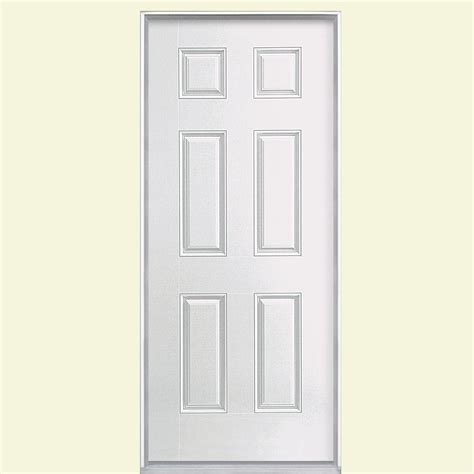 36 In X 80 In 6 Panel Primed Smooth Fiberglass Prehung Prehung Fiberglass Exterior Doors