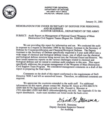 Navy Evaluation Correction Letter Management Of National Guard Weapons Of Mass Civil Support Teams D 2001 043