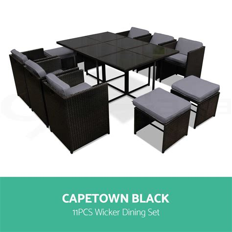 5 9 11pcs outdoor dining furniture set pe wicker rattan garden table and chair ebay