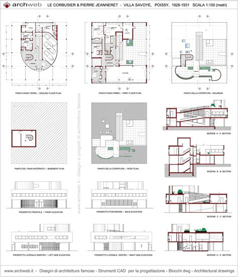 villa savoye floor plan dwg villa savoye plan drawings le corbusier pinterest