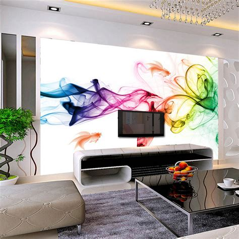 3d Wall Designs Bedroom Aliexpress Buy Custom Photo Wallpaper Modern 3d Wall Mural Wallpaper Color Smoke Fog