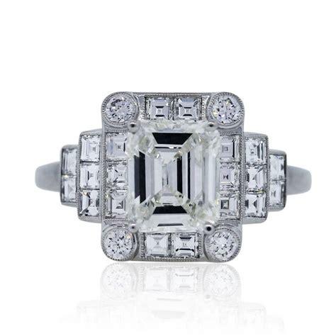 deco emerald cut ring platinum 1 46 carat emerald cut deco engagement ring