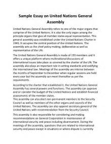 United Nations Essay by Sle Essay On United Nations General Assembly