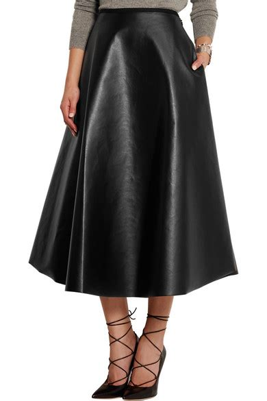lanvin fluted faux leather midi skirt net a porter
