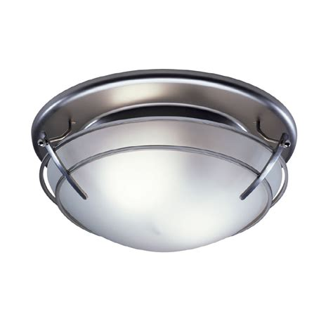 Bathroom Ceiling Light With Fan Shop Broan 2 5 Sone 80 Cfm Satin Nickel Bathroom Fan With Light At Lowes