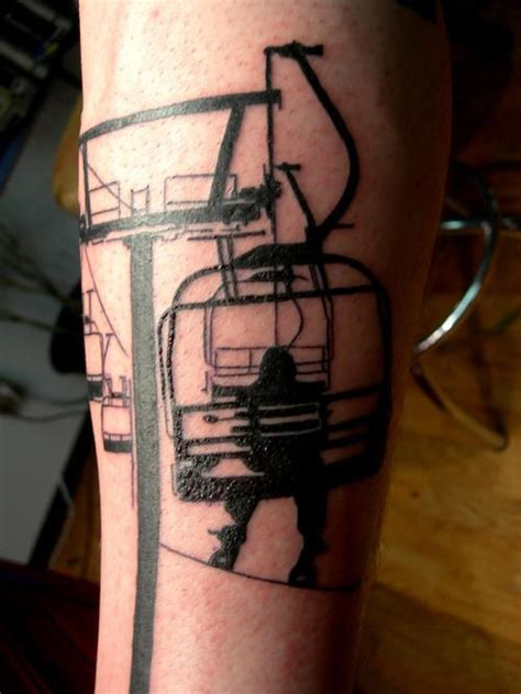 skiing tattoos ski lift skiers and ski on