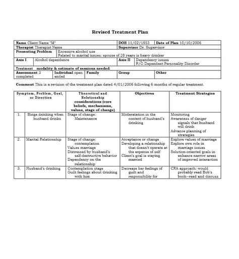 Psychotherapy Treatment Plan Template 6 Emotion Focused Therapy Treatment Plan Template Cancer Treatment Plan And Summary Templates