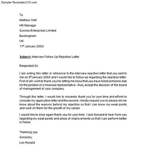 interview rejection letter template sle templates