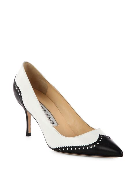 womens spectator shoes flats lyst manolo blahnik ancor spectator leather pumps in white