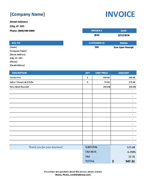 Invoices Office Com Service Call Invoice Template