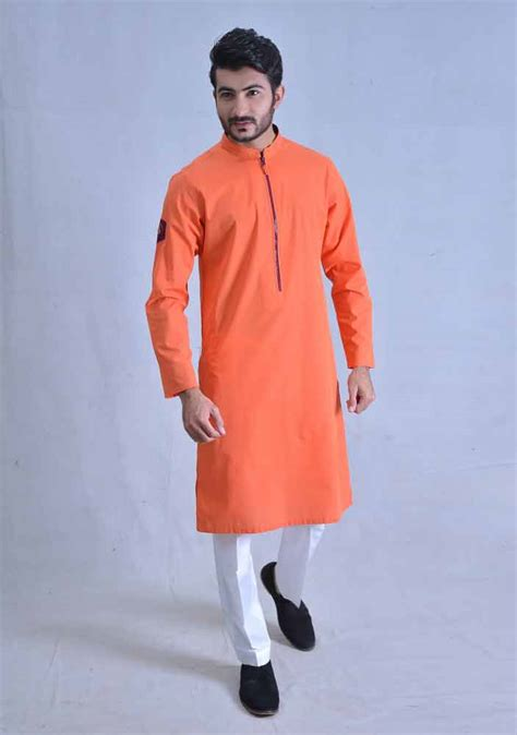 pattern kurta pajama trendy orange best pakistani men kurta shalwar kameez
