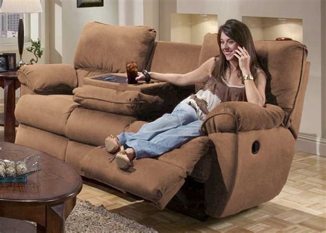 reclining sofa with massage catnapper legend dual reclining sofa with table and
