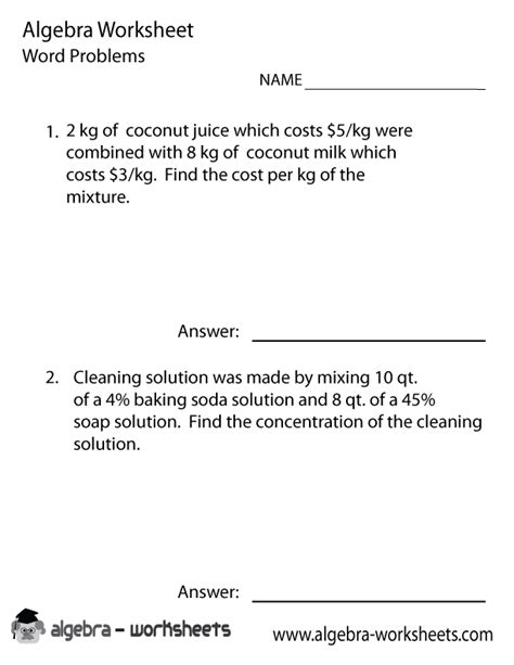 Algebra Word Problems Worksheet