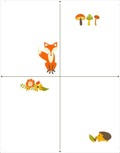 animal cards template clear free printable fox note cards stationery woodland