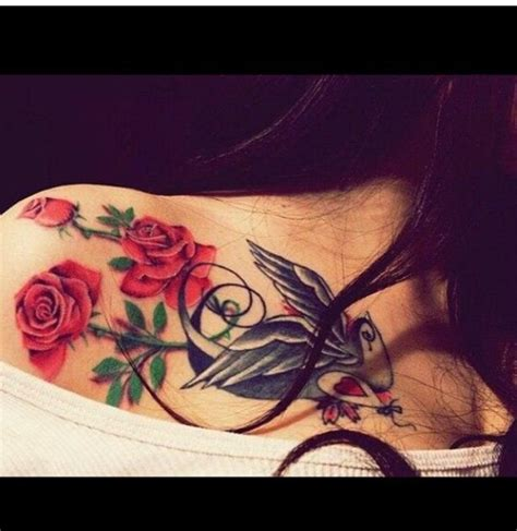 collar bone rose tattoo collar bone doves roses simple pretty