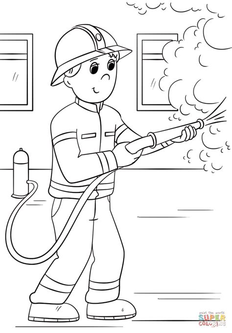 Thank You Fireman Coloring Pages by Firefighter Coloring Page Free Printable