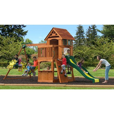 backyard discovery atlantis swing set with fort bj
