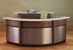 Metal Reception Desk Circular Reception Desk And Modern Curved Reception Desks With Walnut Wood Stainless Steel And