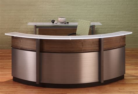 How To Make A Reception Desk Wood Curved Reception Desk All Home Ideas And Decor Fashionable Curved Reception Desk