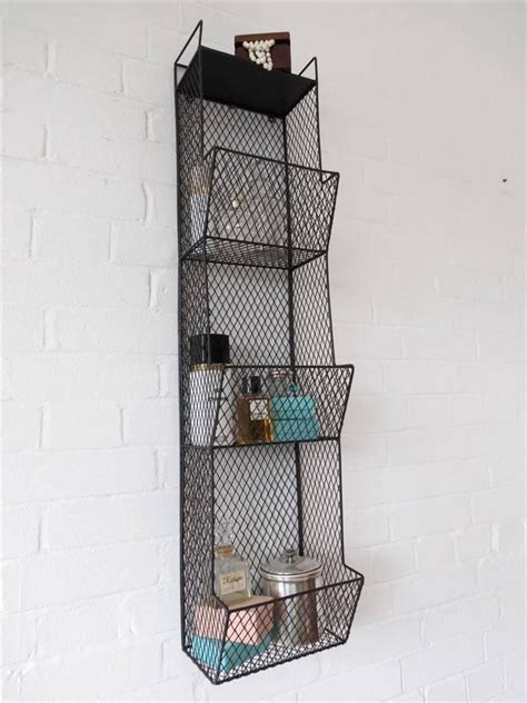 Wire Bathroom Shelving Bathroom Metal Wall Wire Rack Storage Shelf Black Industrial Large Wall Shelving