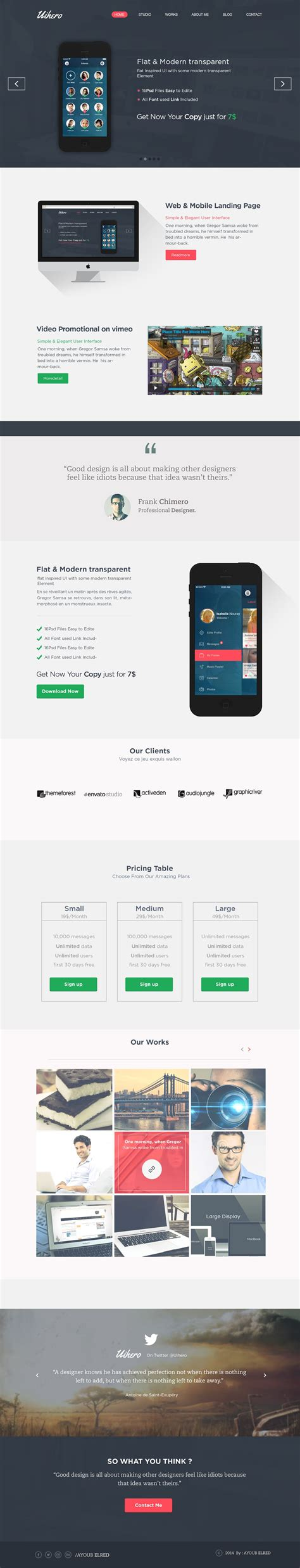 Free Single Page Website Templates Psd 187 Css Author One Page Website Template Free