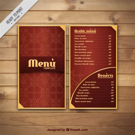 menu card template photoshop arabian menu with golden details vector free
