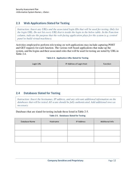 Security Assessment Plan Template Security Test And Evaluation Plan Template