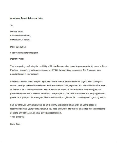 Reference Letter For Apartment Purchase 9 Rental Reference Letter Template Free Word Pdf