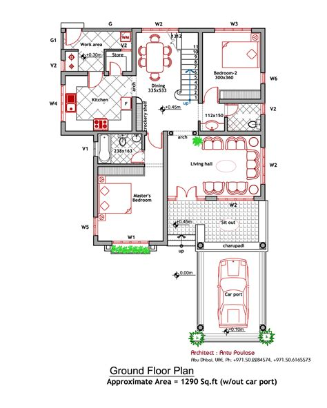 ground floor and floor plan contemporary house elevation and plan at 2000 sq ft