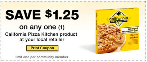 Promo Code California Pizza Kitchen Facebook Find 1 25 1 California Pizza Kitchen Coupon