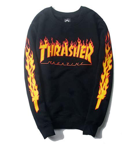 Hoodie Thrasher Jaket Thrasher Sweater Thrasher thrasher magazine logo black crew neck sweatshirt wanelo thrasher magazine