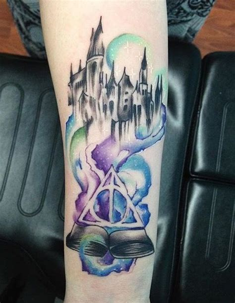 hogwarts tattoo harry potter watercolor hogwarts right