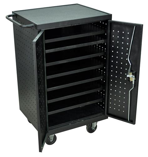 tablet storage and charging cabinet ipad charging cart steel cabinet with 7 storage shelves