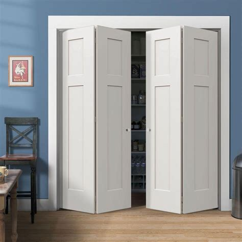 Closet Door Pictures White Finished Bifold Closet Door With White Trim Also Blue Wall Color And Armless Chair On