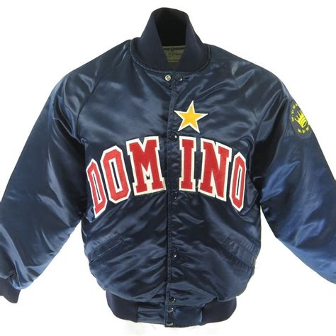 Domico Jacket Blajer vintage 80s satin domino jacket mens l patches harvard clothing quilted the clothing vault