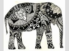 Examples of Zentangle Project   Exploring Visual Art Indian Elephant Henna Drawing