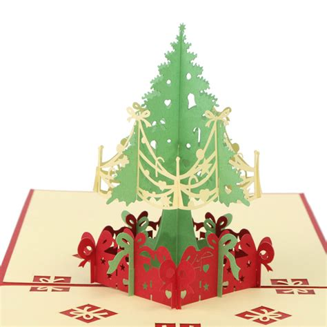 Merry Christmas Tree 3d Card Laser Cut Paper Christmas Greeting Cards Christmas Gifts At Banggood Laser Cut Pop Up Card Template