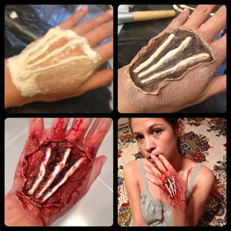 wound tutorial without latex open hand wound sfx makeup halloween makeup inspirations
