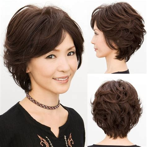 wavy short texlaxed hair new fashion glamour women short curly wave brown hair full