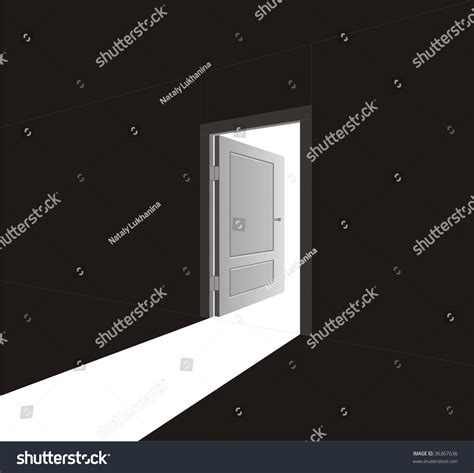vector image open door light going stock vector 36367636