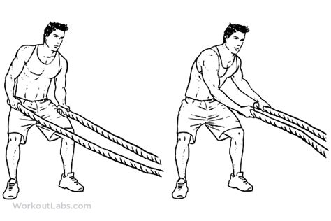 rope swing workout battle rope side to side swings illustrated exercise
