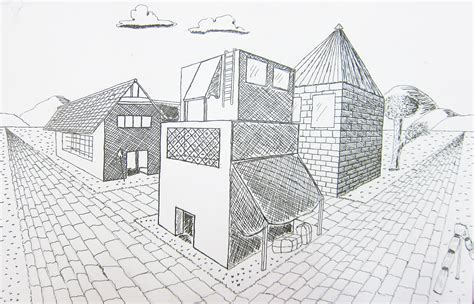 Drawing 2 Point Perspective Buildings by Mr Bob S Middle High School Room Two Point